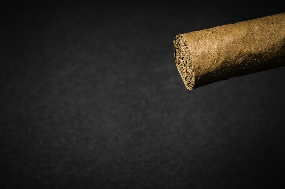 The tip of a cigar from Havana House waiting to be smoked