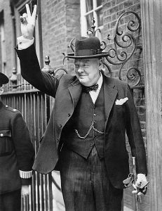 Winston Churchill at 10 Downing Street smoking one of his famous cigars