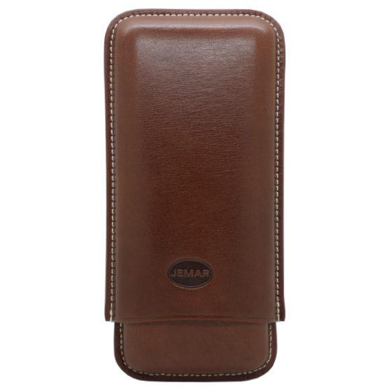 Jemar Black Leather Cigar Case - 3 Robusto