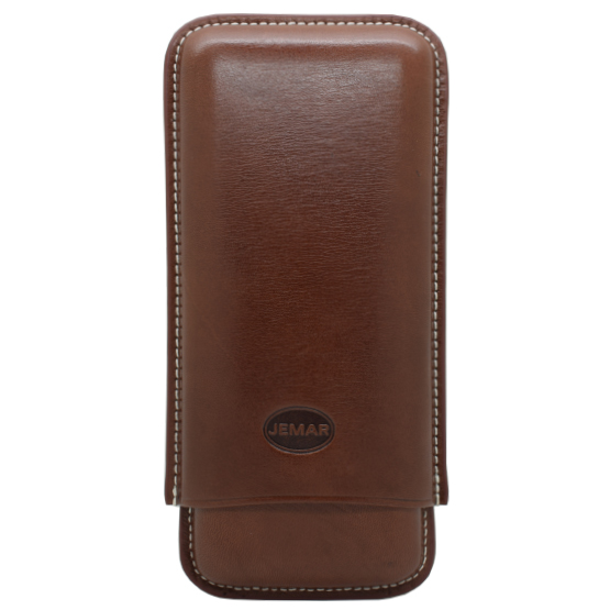 Jemar Black Leather Cigar Case - 3 Robusto