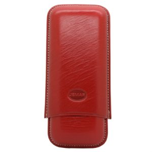 Jemar Red Leather Cigar Case - 2 Robusto