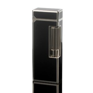 Dunhill Rollagas Black Lacquer and Palladium Plated Lighter
