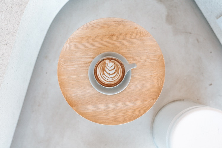 bird's eye view of a latte