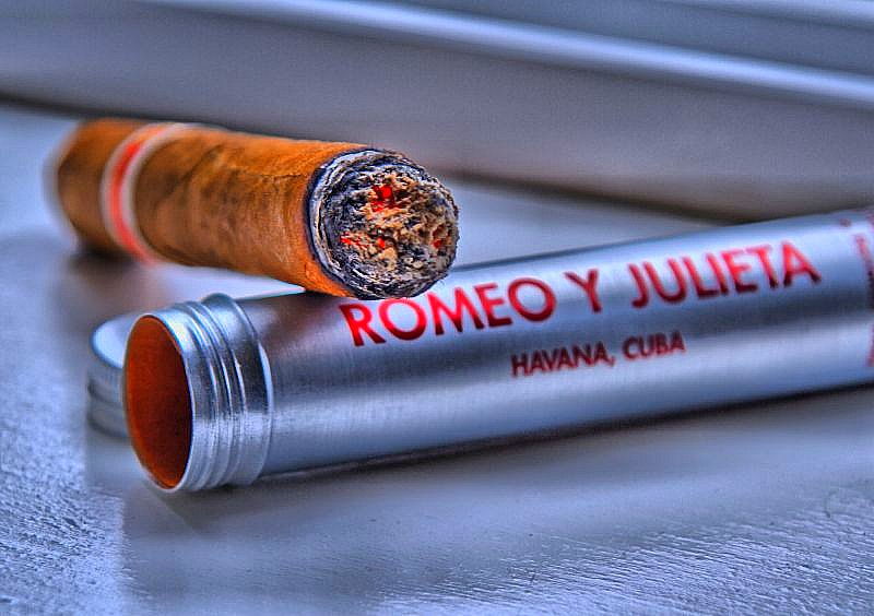 A lit Romeo Y Julieta Cigar available at Havana House