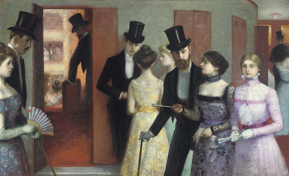 Ernest Rouart painting, soiree, men and ladies talk at a party