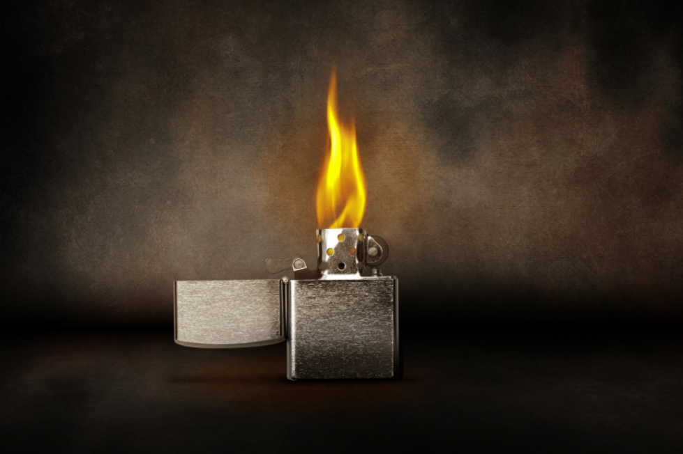 A Zippo lighter alight at Havana House
