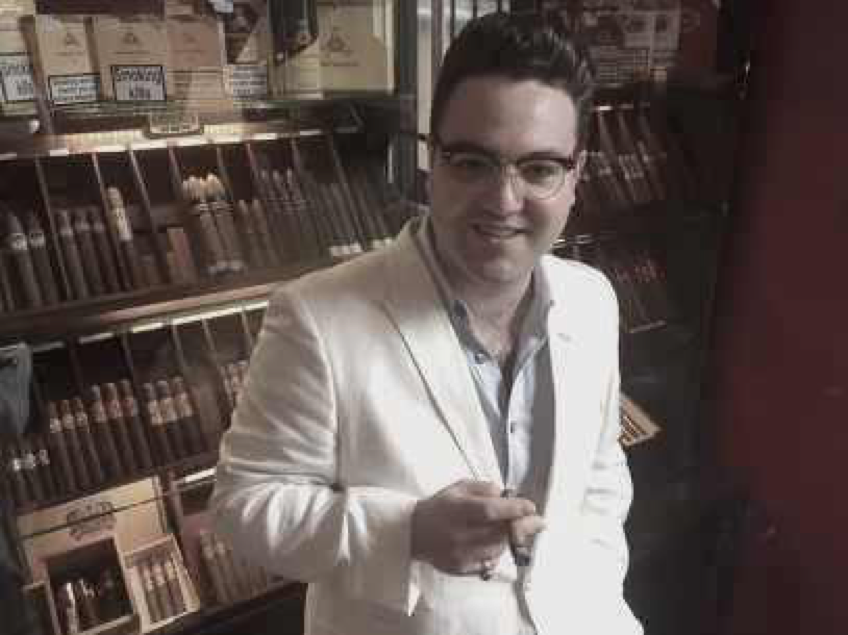 Manager of Havana House Hove Store enjoying a cigar