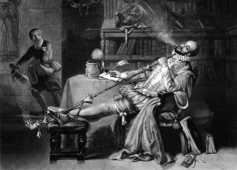 Illustration shows Sir Walter Raleigh's first smoke in England.