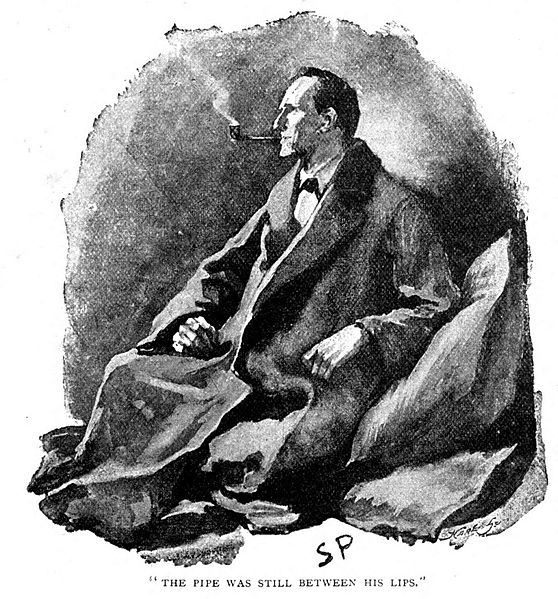 The original illustration of Sherlock Holmes smoking a pipe.