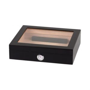 keyword Matte Black Humidor with Glass Top for 20 cigars