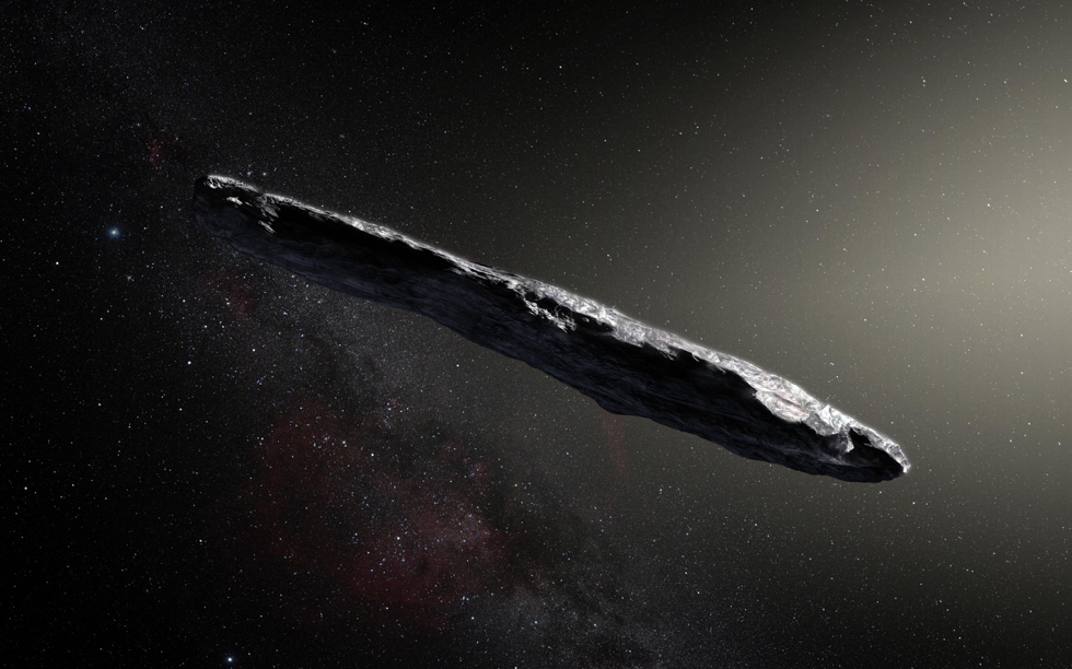 Artist impression of Oumuamua the cigar shaped asteroid