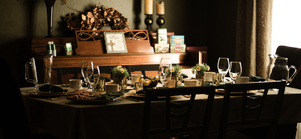 a table set up for a dinner party
