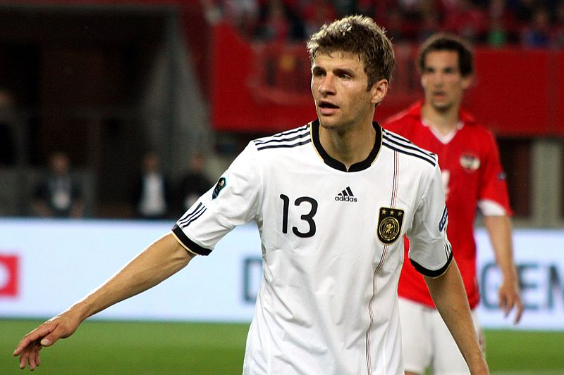 Thomas Muller wearing number 13 playing for Germany