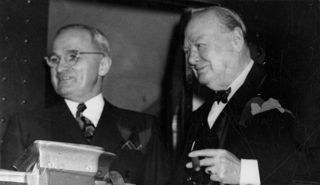 Churchill before his Iron Curtain speech, cigar in hand.