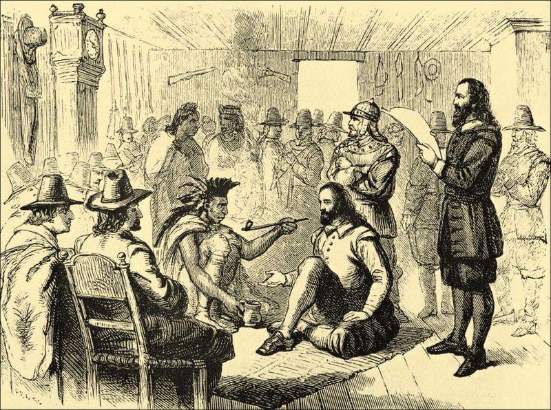 Massasoit and governor John Carver smoking a peace pipe