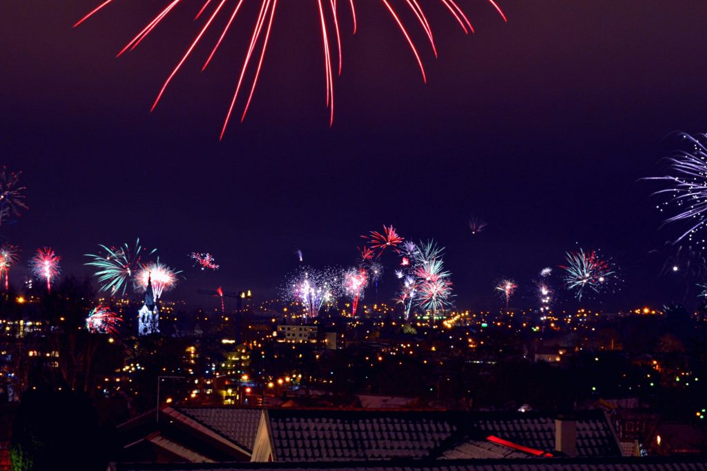 Fireworks going off over a city to welcome in the new year