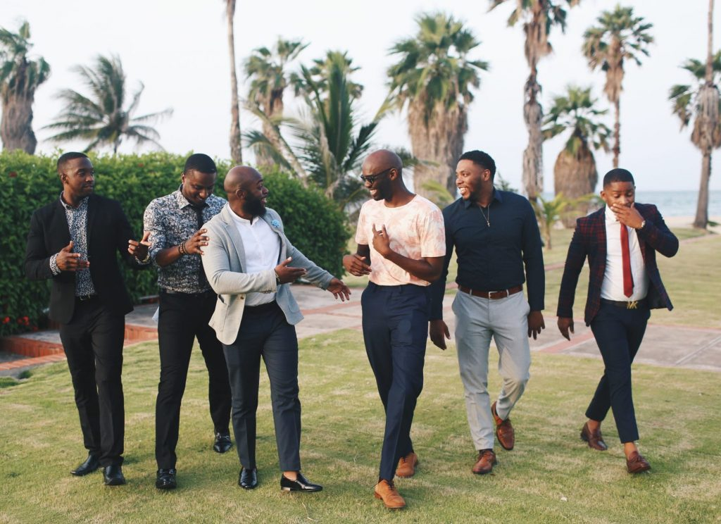 Six men all dressed up and going for a night out