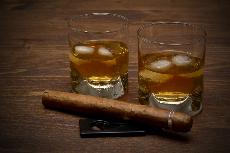 Whisky Rocks with Cigar and Guillotine