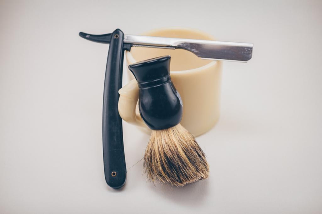 Razor and beard brush