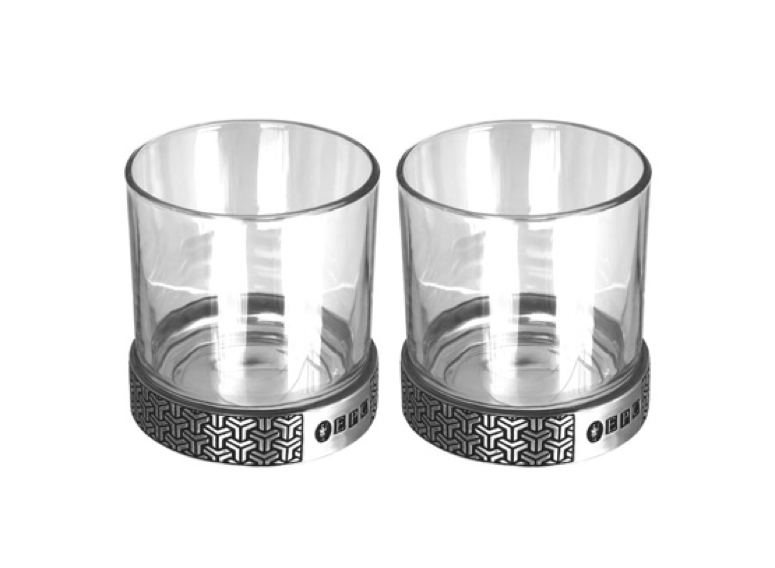 Two decorated tumbler glasses