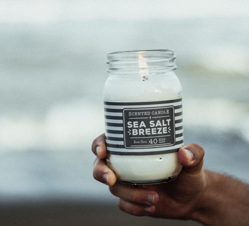 Sea salt candle being held