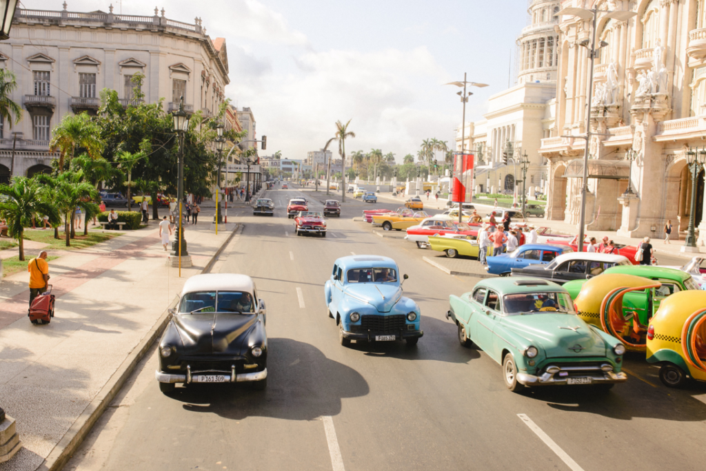 three cars in Havana on Christmas day