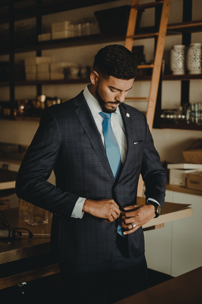 Man wearing suit with tie