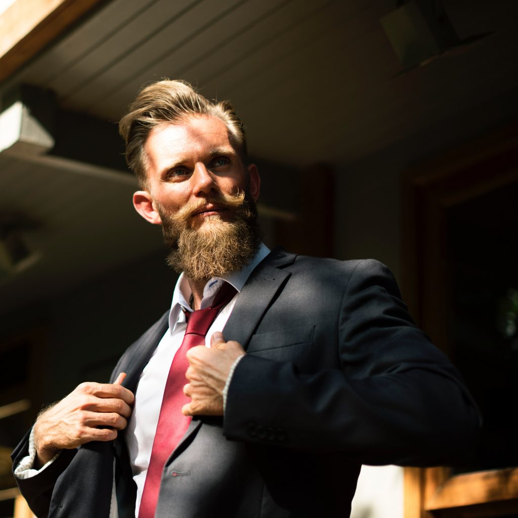 Man with beard wearing suit