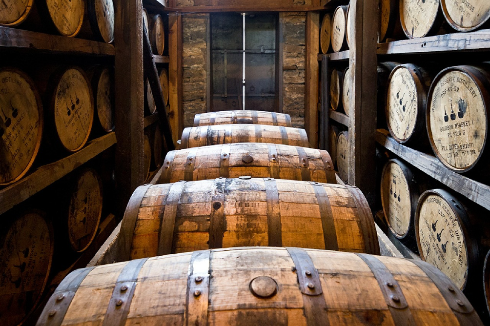 Irish Whiskey in barrels
