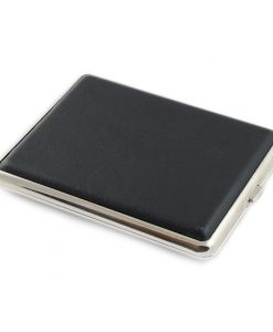 Cigarette Case Leather Black Super King Size