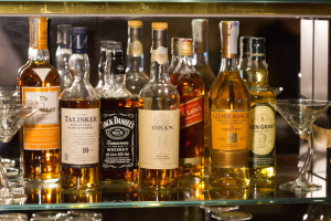 Lines of whisky bottles