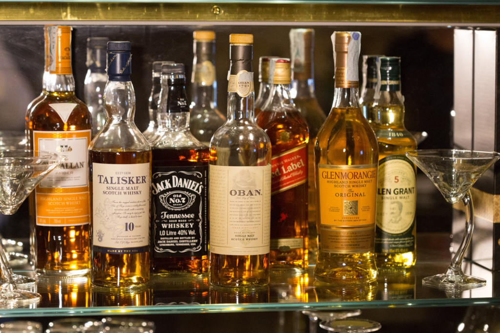 Selection of whisky bottles in a bar
