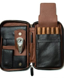 Peter James Black & Brown Aficionado Leather Cigar Case