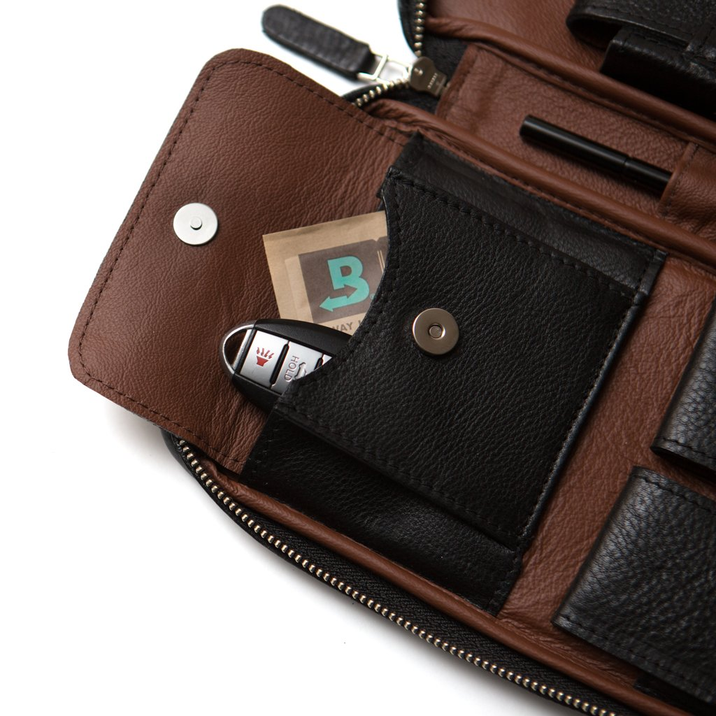 Peter James Black & Brown Aficionado Leather Cigar Case
