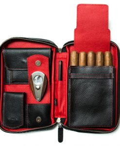 Peter James Red & Black Aficionado Leather Cigar Case