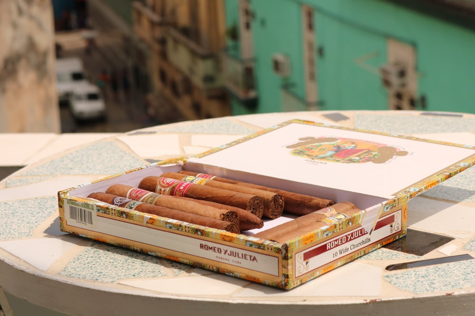 Cuban cigars in a box