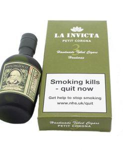 La Invicta Petit Corona Pack of 3 Tubos with Dilpomatico Rum Miniutre