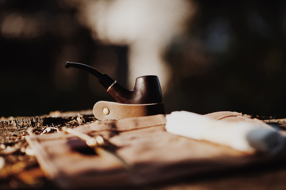 Pipe being rested on a stand