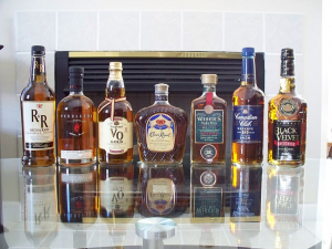 Bottles of Canadian whisky