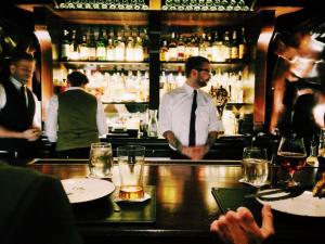 Bar tender at a bar