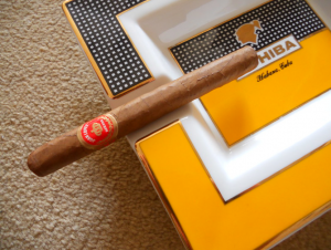 Panetela cigar resting on a cohiba ashtray