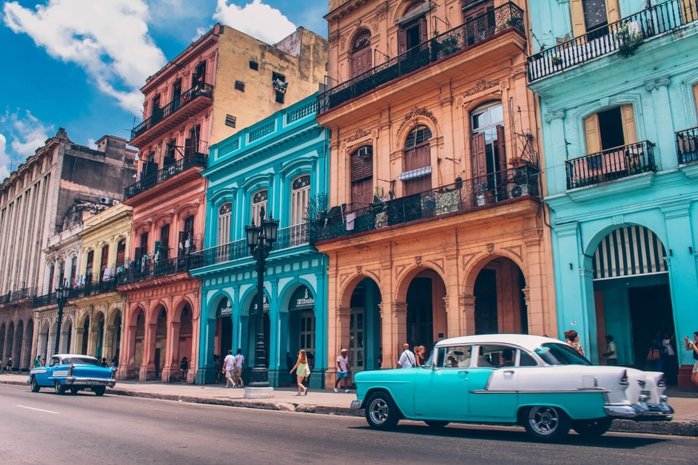 Colourful houses and cars in Cuba