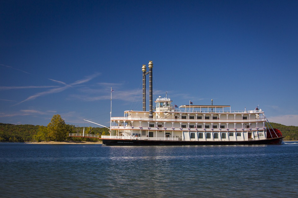 An old steamboat on a river in Missouri, America