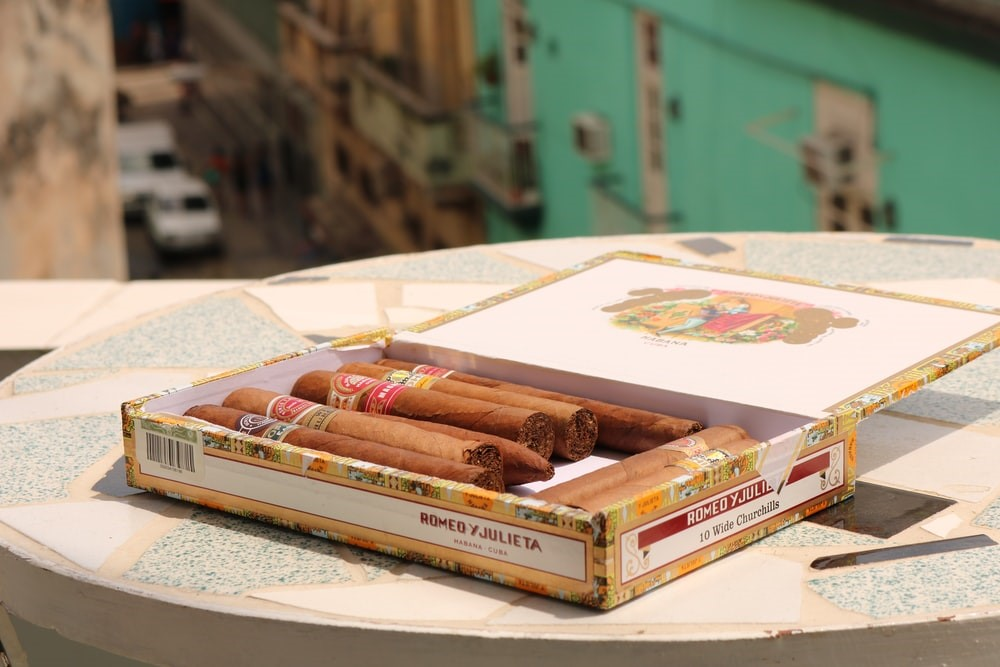 A box of cigars on a table