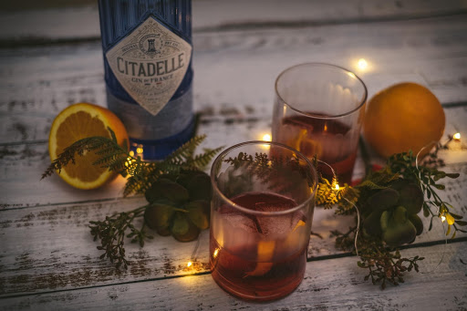 Two Negroni's on a bar surrounded by foliage and fairy lights