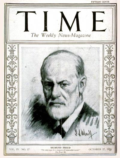 Sigmund Freud's face on the front page of Time