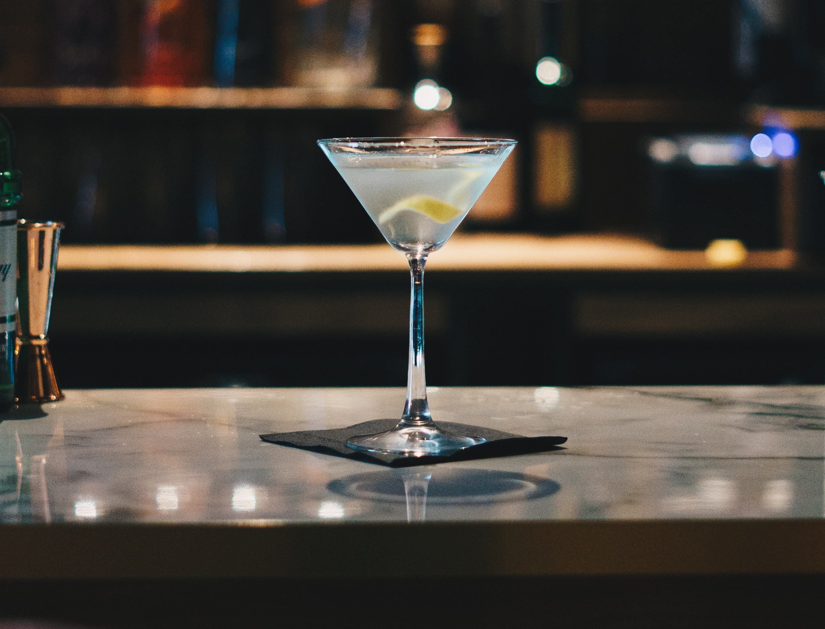 A martini on a bar