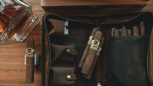 Cigars in a leather pouch