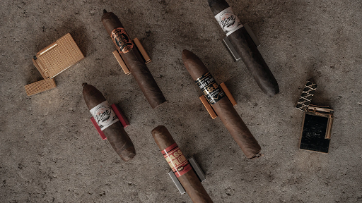 A collection of cigars on display