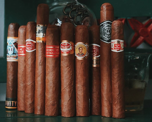 A selection of cigars lined up